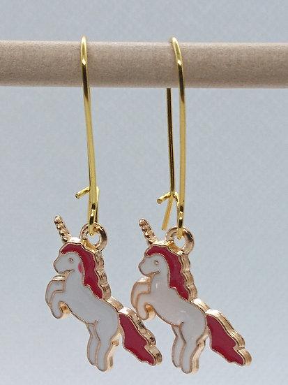 boucles d'oreilles breloque licorne rouge