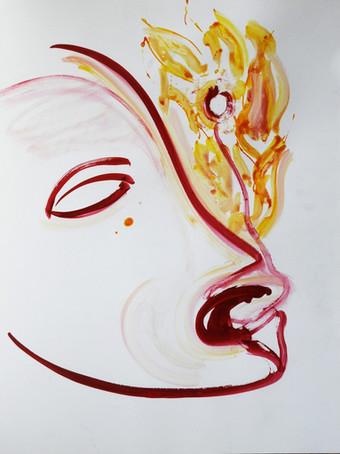 Ilya Grinberg, sans titre, 2018, encre sur papier, 65 x 50 cm.
