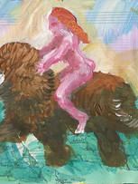 Tereza Lochmann, Lia rides Kish, 2018, acrylique sur papier, 16 x 25 cm.