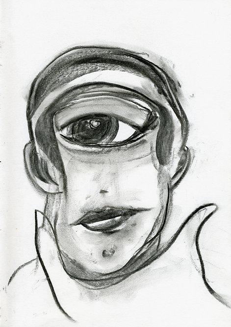 Ilya Grinberg, 1+1 = 1, 2019, fusain sur papier.
