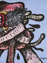 Maryan (Pinchas Burstein), sans titre, 1971, acrylique sur papier marouflé sur toile, 56 x 76 cm.