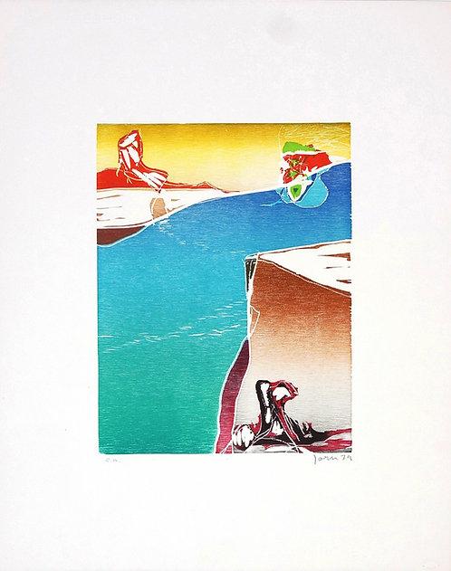 Asger Jorn, Dans le sillage d'If-Aube, 1972, gravure sur bois.