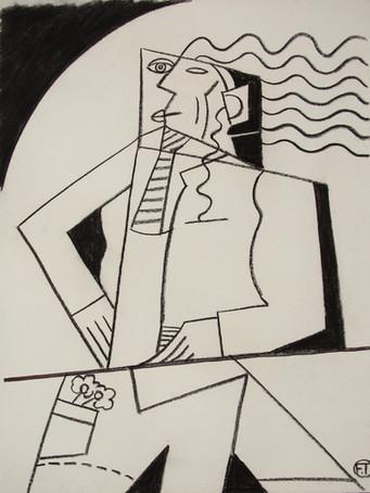 Fernand Teyssier, Autoportrait, c1985, fusain sur papier, 65x50 cm.