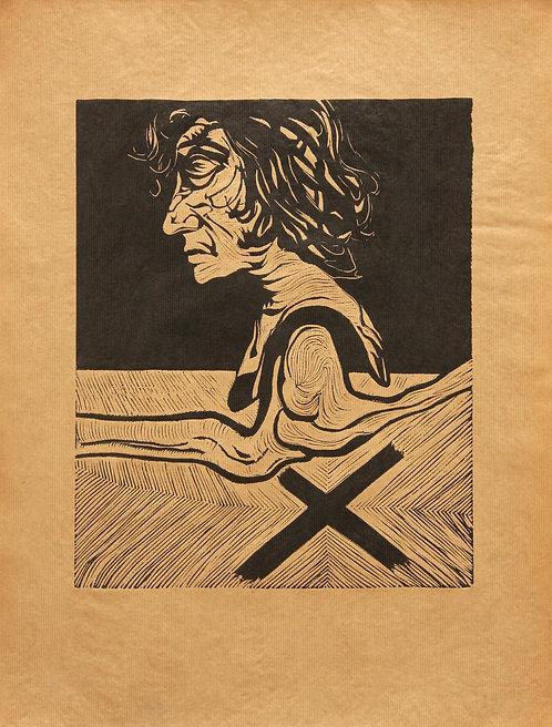 Fernand Teyssier, sans titre, 1964, linogravure sur papier kraft.