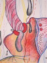 Maryan (Pinchas Burstein), sans titre, 1975, crayon de couleur sur papier, 65 x 50 cm.
