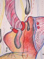 Maryan (Pinchas Burstein), sans titre, 1975, crayon de couleur sur papier, 56 x 76 cm.