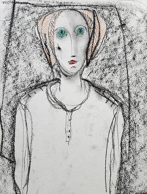 Ilya Grinberg, Une mouche, 2020, fusain, crayon de couleur et mouche sur papier.