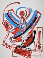 Jacques Grinberg, Guerre du Liban, c.1982, gouache sur papier, 76 x 56 cm.