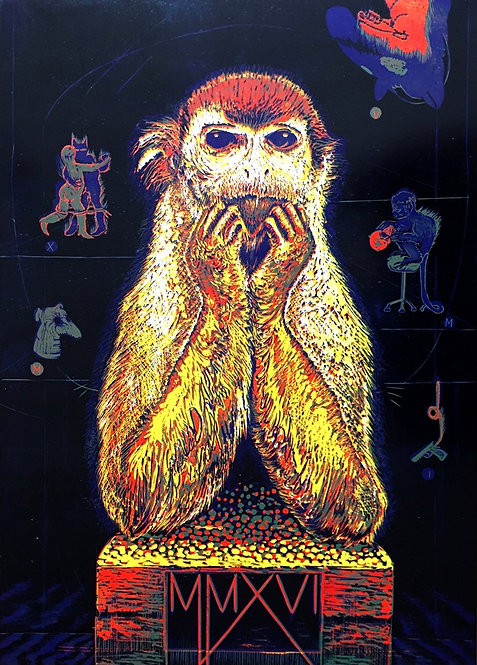 Tereza Lochmann, Année du singe, 2017, linogravure.