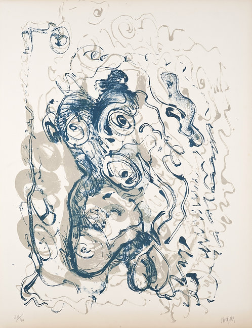 Jacques Grinberg, Le changement en bave d'escargot, 1971, lithographie.