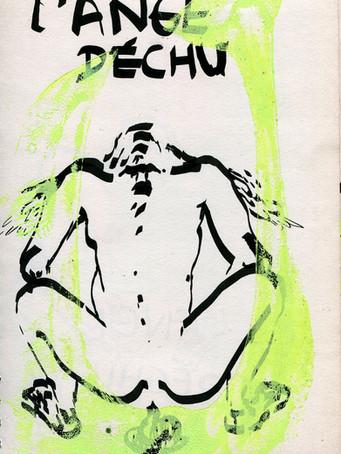 Tereza Lochmann, L'ange déchu, 2019, acrylique et marqueur sur papier, 30 x 20 cm.