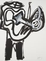 Jacques Grinberg, Musicien, 2006, encre de chine et gouache sur papier, 65 x 50 cm.