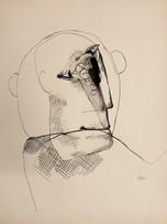 Mao To Laï, Portrait de veuf, c.1965-1970, encre de chine sur papier, 40 x 32 cm.