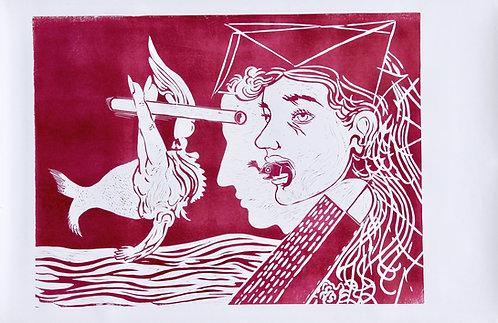 Fernand Teyssier, sans titre, 1972, linogravure sur papier.