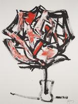 Jacques Grinberg, Rose pierre de la terre, 2004, encre de chine et gouache sur papîer, 76x 56 cm.