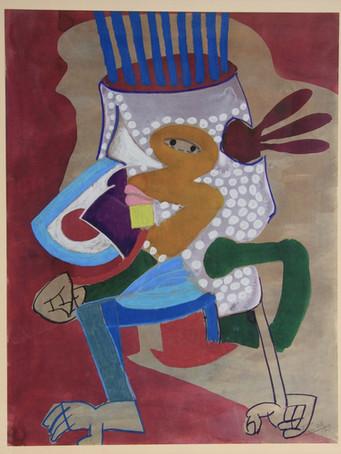 Fernand Teyssier, Le vase grec, 1975, encre et pastel gras sur papier, 65 x 50 cm.