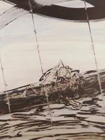 Mao To Laï, sans titre, c.1985-1995, encre de chine et pastel sur papier marouflé sur bois, 64 x 50 cm.