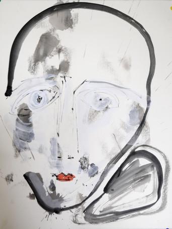Ilya Grinberg, sans titre, 2018, gouache sur papier, 65 x 50 cm.