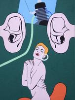 Fernand Teyssier, A cheval sur du bruit, 1969, acrylique sur toile, 60 x 38 cm.