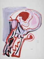 Jacques Grinberg, sans titre (série Fasciste - Tête de rat), c.1985, gouache sur papier, 76 x 56 cm.