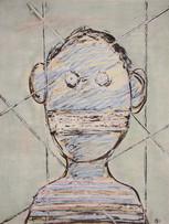 Mao To Laï, Mémoire d'images - Otage, c.1985-1995, encre de chine et pastel sur papier marouflé sur bois, 65 x 50 cm.