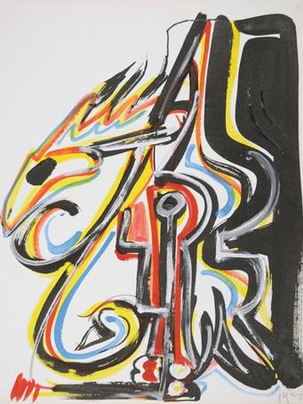 Jacques Grinberg, Autoportrait, 1994, gouache et encre de chine sur papier, 65 x 50 cm.