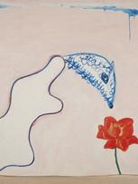 Jacques Grinberg, L'animal qui sent la rose (ou La Fleur), 1968, huile sur toile, 130 x 162 cm.