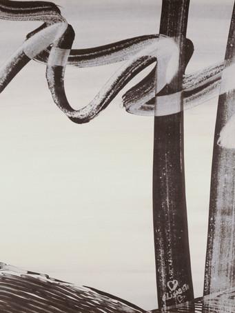 Mao To Laï, Mémoire d'images - Cadarache - Un coin de bois à l'ouest, c.1985-1995, encre de chine sur papier marouflé sur bois, 80 x 120 cm.