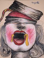 Maryan (Pinchas Burstein), sans titre, 1976, crayon de couleur sur papier, 65 x 50 cm.