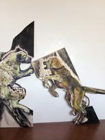 Tereza Lochmann, Les combattants, 2020, relief et encres lithographiques sur bois, 165 x 61 cm et 126 x 150 cm.