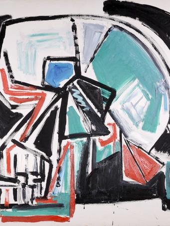 Jacques Grinberg, Le crâne qui fume, 1985, huile sur toile, 97 x 130 cm.
