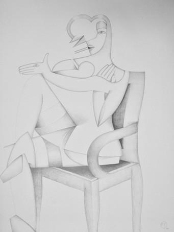 Fernand Teyssier, La dame à la main chien, 1979, crayon sur papier, 76 x 57 cm.
