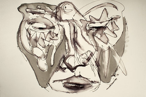 Ilya Grinberg, Mélancolie, 2014, encre sur papier.