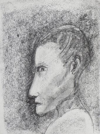 Ilya Grinberg, Essai d'autoportrait en Jeanne d'Arc, c.2016-2017, fusain sur papier, 38 x 28 cm.