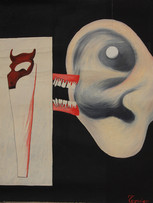 Fernand Teyssier, Etude pour un acte audible, 1964, huile sur toile, 80 x 63 cm.