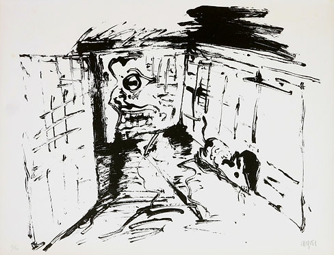 Jacques Grinberg, Le changement en souris blanche (le trou), 1971.