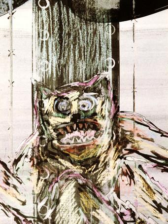 Mao To Laï, sans titre, c.1985-1995, encre de chine et pastel sur papier, 79,6 x 36,4 cm.