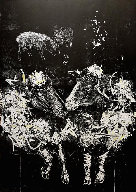 Tereza Lochmann, Moutons noirs, 2017, linogravure.