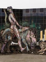 Tereza Lochmann,Lady Godiva on her poney, 2019, reliefs et encres lithographiques sur bois, 125 x 200 cm.