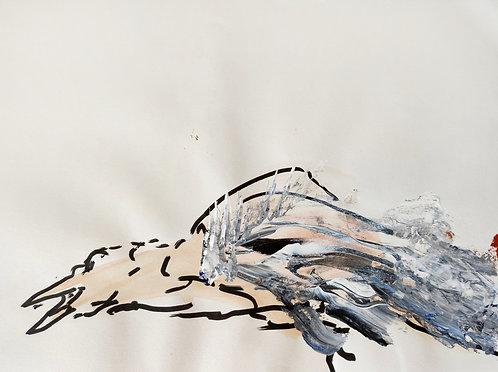 Tereza Lochmann, Le dormeur, 2020, acrylique et marqueur sur papier.