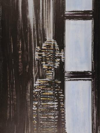Mao To Laï, sans titre, c.1985-1995, encre de chine sur papier marouflé sur bois, 120 x 80 cm.