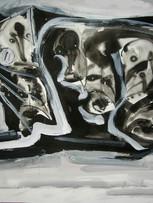 Ilya Grinberg, Chat, c.2005-2010, gouache sur papier, 50 x 65 cm.