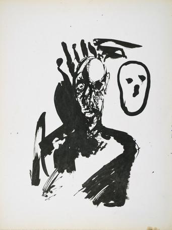 Jacques Grinberg, sans titre, c.1972, encre de chine sur papier, 65 x 50 cm.