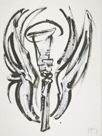 Jacques Grinberg, sans titre, c.2007-2009, encre de chine et gouache sur papier, 76 x 56 cm.