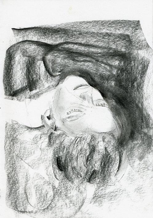 Ilya Grinberg, La sieste, 2019, fusain sur papier.