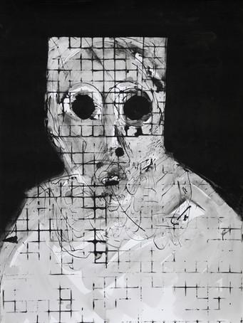 Ilya Grinberg, Angoisse au carré, 2020, encre sur papier, 80 x 60 cm.