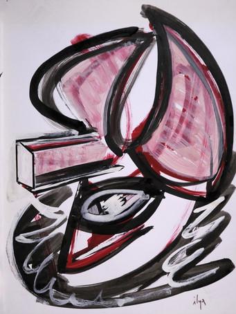 Ilya Grinberg, Liquide amniotique, 2016, gouache sur papier, 65 x 50 cm.