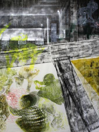 Tereza Lochmann, Meilleur des mondes possibles, gravure sur bois et acrylique sur papier Japon, 237 x 291 cm.