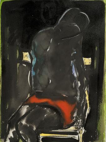 Ilya Grinberg, sans titre, c.2016-2017, technique mixte sur papier, 38 x 28 cm.