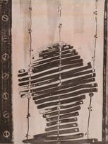 Mao To Laï, Mémoire d'images - Otage 3, c.1985-1995, encre de chine et pastel sur papier marouflé sur bois, 50 x 65 cm.